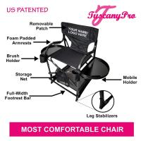 """Tuscany Pro Mid Size Makeup / Hair Chair (25"""" Seat Height),Storage Cart, Carry Strap, Removable Brush Holder w/ Carry Bag"""