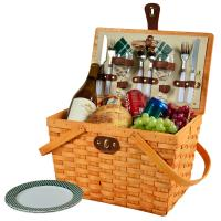 Picnic at Ascot Frisco Traditional American Style Picnic Basket with Service for 2 - Green Plaid