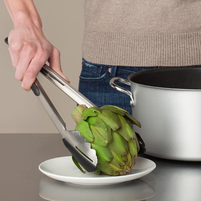 "Ergo Chef Pro-Series 12"" DUO Silicone Kitchen Tongs - Black"