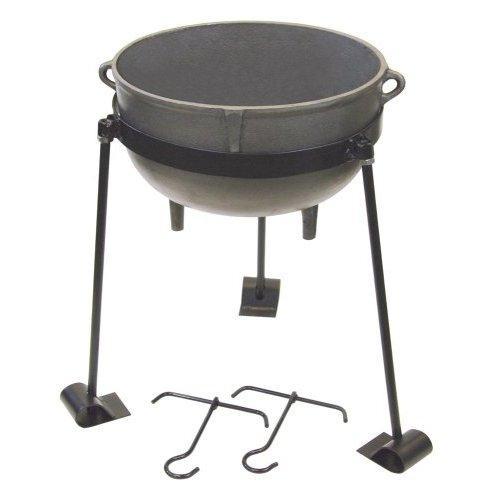 Bayou Classic 10-Gallon Cast Iron Jambalaya Pot with Tripod Stand and 2 Lift Hooks