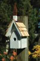 Heartwood Classic Chapel Birdhouse, White Crackle with Shingled Roof