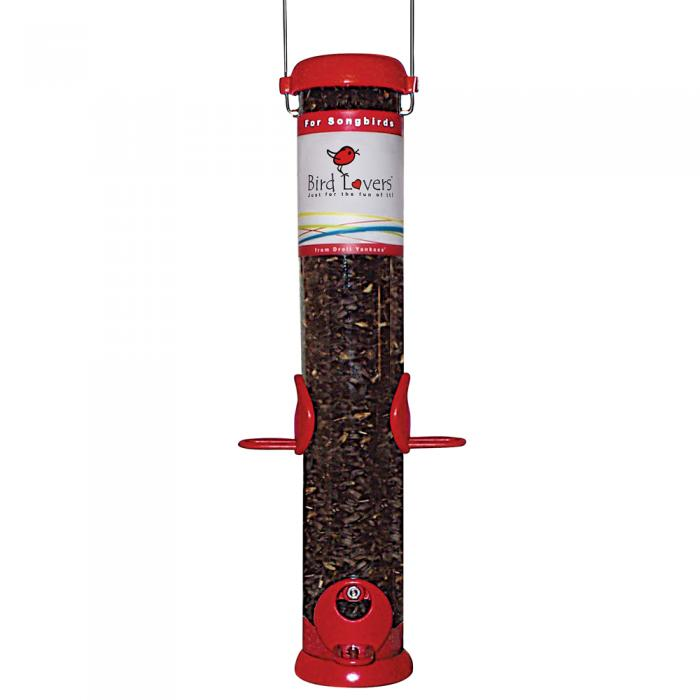 "Droll Yankees Bird Lovers 15"" Red Songbird Tube Bird Feeder"