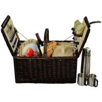 Picnic at Ascot Surrey Willow Picnic Basket with Service for 2 with Coffee Set - Hamptons