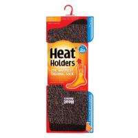 Grabber Heat Holders Mens Twist Crew Sock-Brown