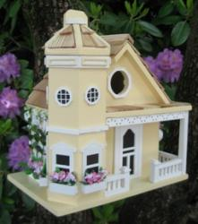 Home Bazaar Flower Pot Cottage Birdhouse - Yellow
