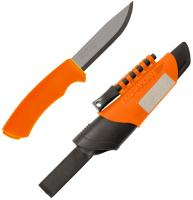 Morakniv Bushcraft Stainless Steel Survival Knife with Fire Starter and Sharpener, Orange