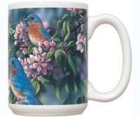 Fiddler's Elbow Springtime Jewel Bluebirds 15 oz Mug