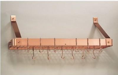 Old Dutch 36.2 x 9 x 12 Satin Copper Bookshelf Rack with Grid and 12 Hooks