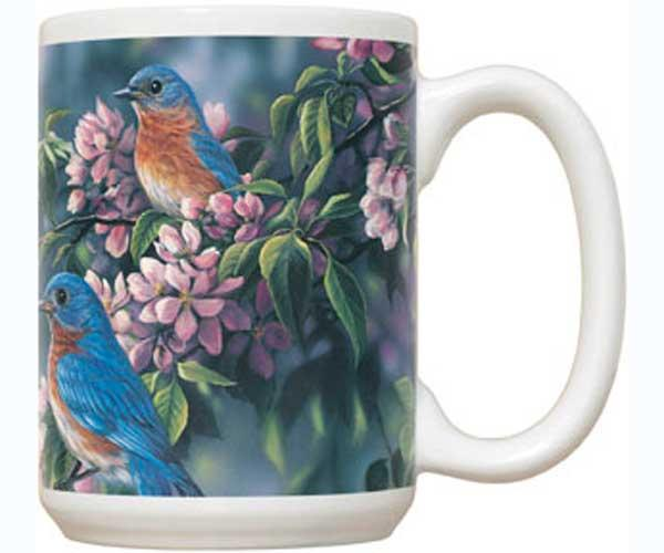 Fiddler's Elbow Springtime Jewel Bluebirds 15 oz Mug