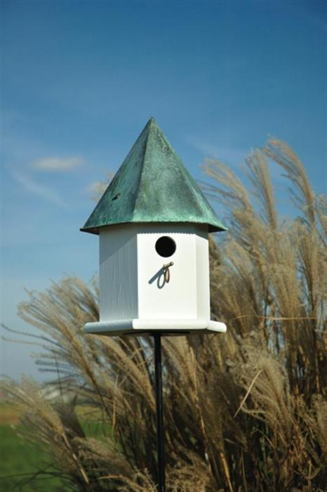 Heartwood Copper Songbird Deluxe Birdhouse, White with Verdigris Roof