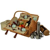 Picnic at Ascot Yorkshire Willow Picnic Basket with Service for 4, Coffee Set and Blanket - Gazebo