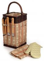 Picnic & Beyond Classique Square Shaped BBQ Basket with Three BBQ Tools