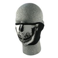 Cold Weather Headwear Neoprene 1/2 Face Mask, Glow in the Dark, Skull Face