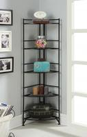 Designs2Go 5 Tier Folding Metal Corner Shelf, Black