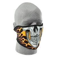 Cold Weather Headwear Neoprene 1/2 Face Mask, Burning Skull