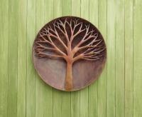 Ancient Graffiti Raised Tree Flamed Wall Disc 24 inch
