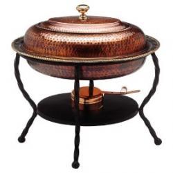 "Old Dutch 16 1/2"" x 12 1/2"" x 18"" Oval Antique Copper Chafing Dish 6 Qt"