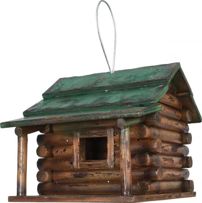 Rivers Edge Products Wood Log Cabin Birdhouse