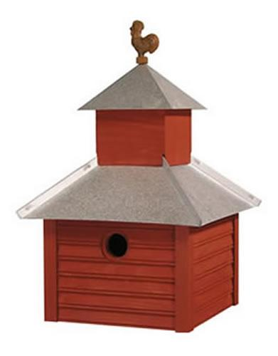 Heartwood Rusty Rooster Birdhouse, Redwood with Galvanized Roof