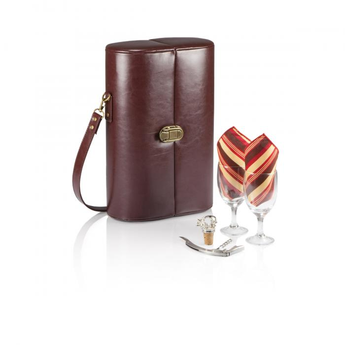 Picnic Time Harmony 1 Bottle Deluxe Wine Case w/Wine Service for 2, Mahogany