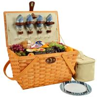 Picnic at Ascot Settler Traditional American Style Picnic Basket with Service for 4 - Blue Stripe