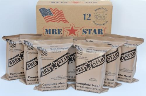 Meal Ready to Eat (MRE), 12 Pack Case, Ration, with Heaters