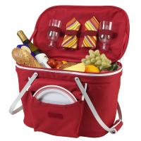Picnic at Ascot Collapsible Insulated Picnic Basket Equipped with Service For 2 - Red