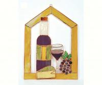 Gift Essentials Large Wine with Cheese and Grapes Steeple Window Panel