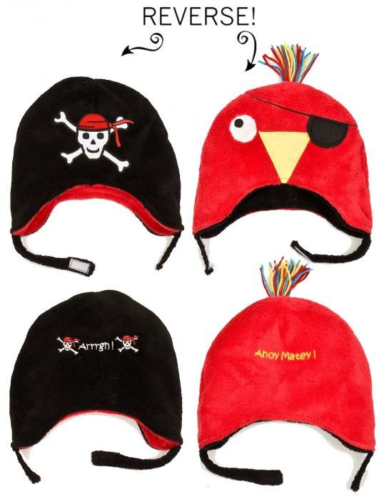Luvali Convertibles Pirate/Parrot Reversible Kid's Winter Hat, Small