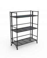 XTRA-Storage 3 Tier Wide Black Folding Metal Shelf