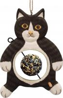 Bobbo Black/White Cat with Food Skewer Feed Ball Bird Feeder