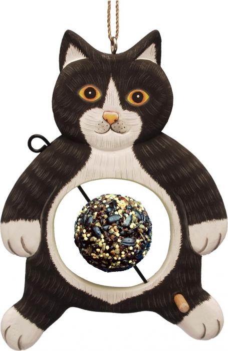 Bobbo Black/White Cat with Food Skewer Feed Ball Bird Feeder