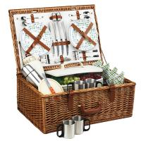 Picnic at Ascot Dorset English-Style Willow Picnic Basket with Service for 4 and Coffee Set - Gazebo