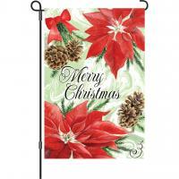 Premier Designs Poinsettia & Pinecones Garden Flag