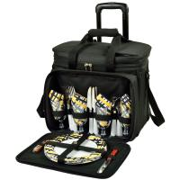 Picnic at Ascot Deluxe Picnic Cooler w/Wheels for 4  -Black/Paris