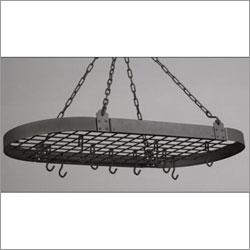 """Old Dutch 36"""" x 18"""" Graphite Oval Pot Rack with 12 Hooks"""