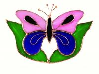 Gift Essentials Pink & Purple Butterfly w/Leaves Sun Catcher