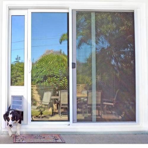 "Endura Flap Pet Door, Thermo Panel 3e, Medium Flap, 8""w x 15""h - 77.25-80.25"" Tall, Bronze Frame"