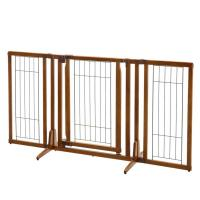 "Richell Premium Plus Freestanding Pet Gate with Door Brown 34 - 63"" x 26 - 20.5"" x 32"""