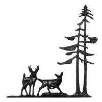 """30"""" Deer & Pines Weathervane - Rooftop Black"""