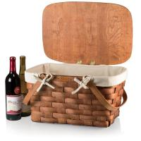 Picnic Time Prairie Woven Wood Picnic Basket with Removable Cotton Canvas Lining