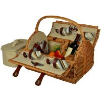 Picnic at Ascot Yorkshire Willow Picnic Basket with Service for 4 - Santa Cruz