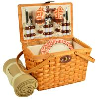 Picnic at Ascot Frisco Traditional American Style Picnic Basket for 2 w/ Blanket - Diamond Orange