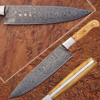 Custom Handmade Damascus Steel Chef Knife w/ Olive Wood Handle