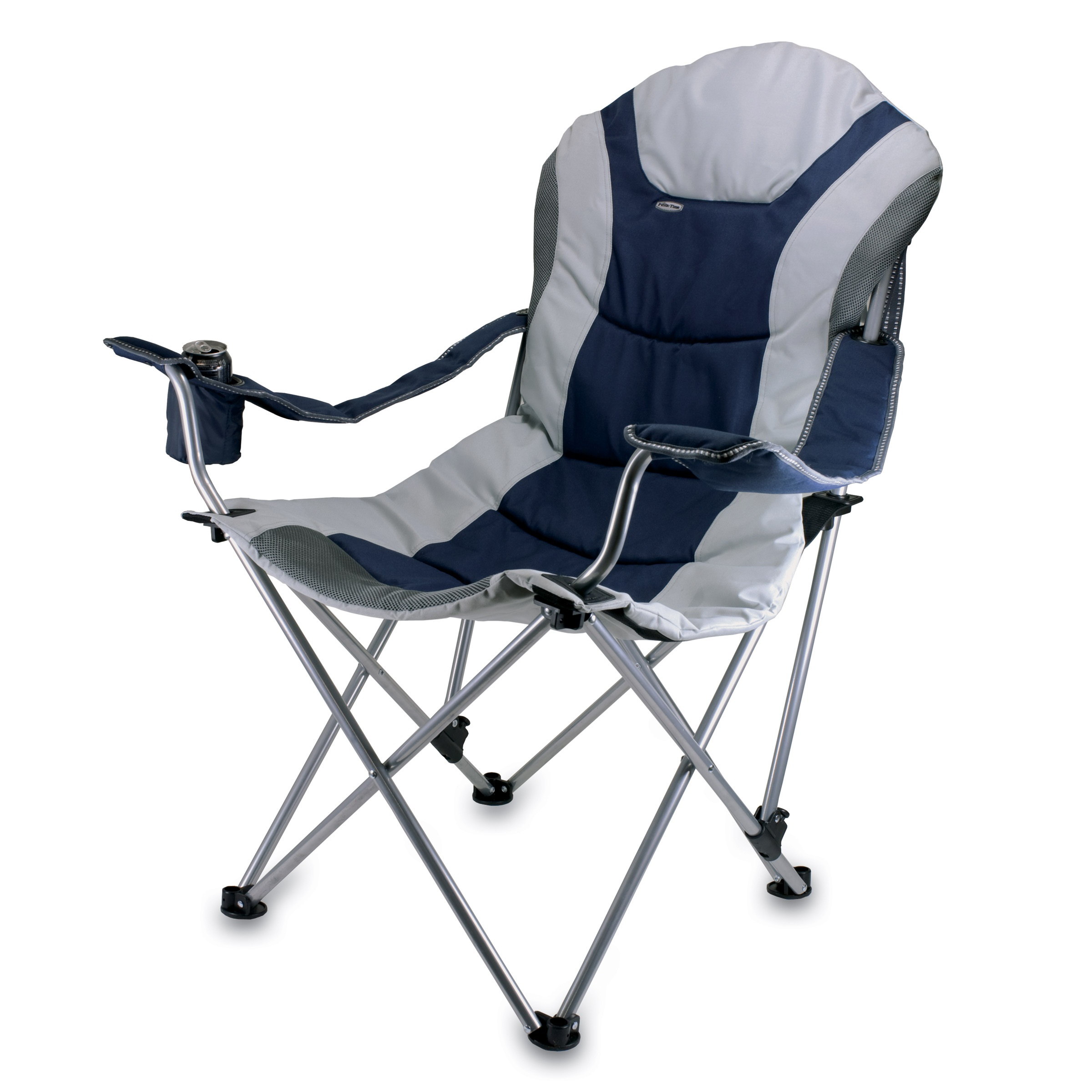 Time Reclining Camp Chair Navy and Gray