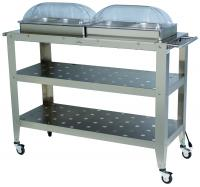 BroilKing Professional Grand Size Warming Cart w/Clear Rolltop Lids & Extra Large Stainless Warming Surface