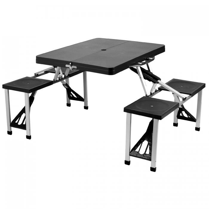 Picnic At Ascot Portable Folding Outdoor Picnic Table With 4 Seats   Black