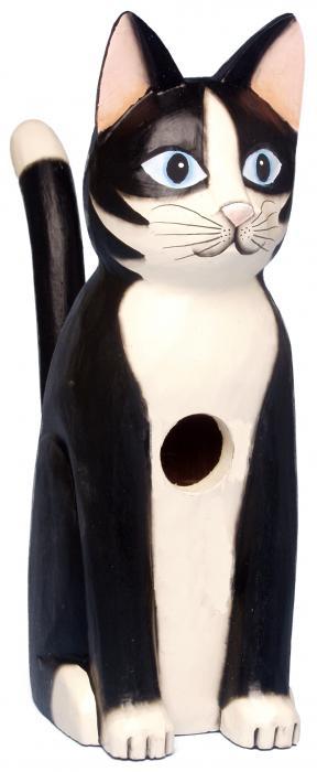 Songbird Essentials Sitting Black & White Cat Birdhouse