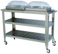 BroilKing Professional Grand Size Warming Cart w/ 4 1/2 Size Pans & 2 Roll Top Lids