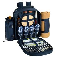 Picnic at Ascot - Deluxe Equipped 4 Person Picnic Backpack with Cooler, Insulated Wine Holder & Blanket - Trellis Blue
